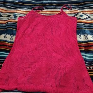 Charlotte Russe Tops - See through red tank top
